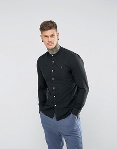 Read more about Farah brewer slim fit grandad oxford shirt in black - black 004