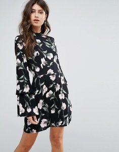Read more about Ax paris black floral mini dress with long frill bell sleeves - black