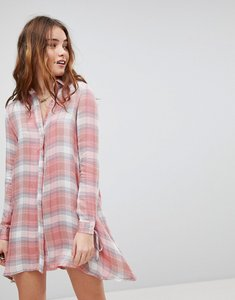 Read more about Glamorous shirt dress in check with tie cuffs - pink check