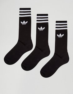 Read more about Adidas originals 3 pack crew socks in black s21490 - black