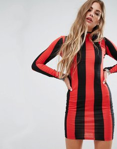 Read more about Motel bodycon dress with long sleeve in stripe - red