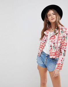 Read more about Asos design floral leather look biker - multi