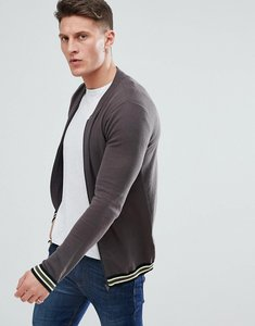 Read more about Asos design knitted bomber jacket in grey with tipping - grey