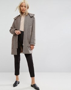 Read more about Asos hooded check coat with rib funnel neck - multi