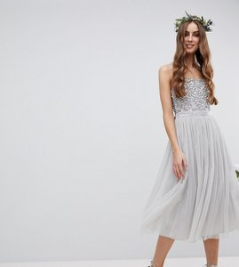 Read more about Maya tall cami strap sequin top tulle detail midi bridesmaid dress - micro chip