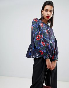 Read more about French connection lisette patchwork floral print asymmetric blouse - smokeypopmult smokey