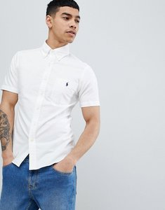 Read more about Polo ralph lauren slim fit short sleeve oxford shirt with button down collar in white - white