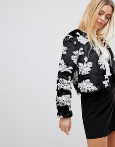 Read more about Girls on film coat in floral faux fur - black floral faux fu