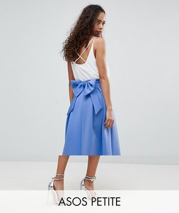 Read more about Asos petite bow back scuba prom skirt - cornflower blue