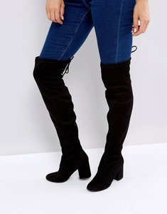 Read more about New look over the knee block heeled boot with tie back - black