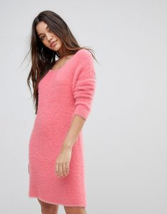 Read more about Prettylittlething fluffy crew neck jumper dress - pink