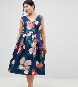Read more about Chi chi london plus v neck printed midi dress - navy multi