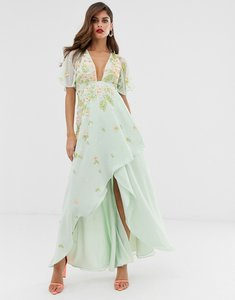 Read more about Asos design dipped hem maxi dress with 3d embellishment and ruffle sleeve