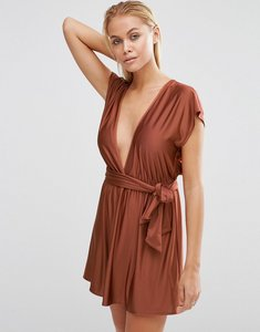 Read more about Asos slinky plunge front beach dress - tan
