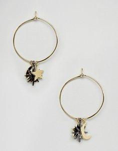 Read more about Orelia moon star charm hoop earrings - multi