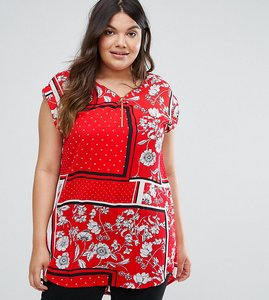 Read more about New look curve scarf print tunic top - red pattern