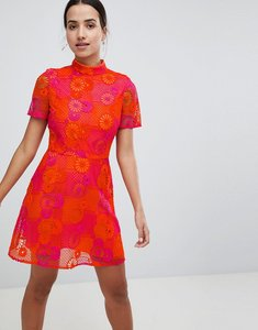 Read more about Asos design bright floral crochet lace shift mini dress - multi