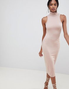 Read more about Asos design soft touch bodycon dress with polo neck - mink