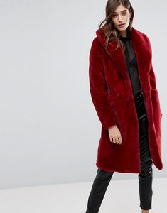 Read more about Vero moda long faux fur jacket - red