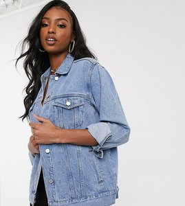 Read more about Missguided tall oversized denim jacket - stonewash