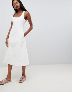 Read more about Asos design denim midi dress in white with seam detail - white