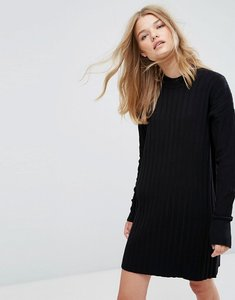 Read more about Weekday high neck knitted rib dress - black