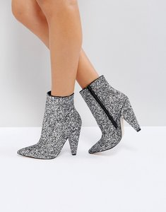 Read more about Asos eileen heeled ankle boots - silver glitter