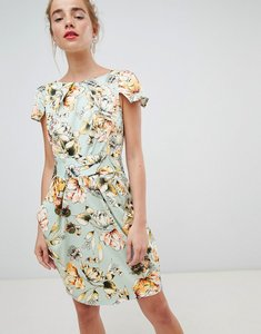Read more about Closet london cap sleeve pencil dress in floral print - cream multi