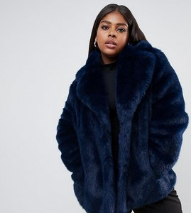 Read more about Asos design curve faux fur coat with collar detail - navy