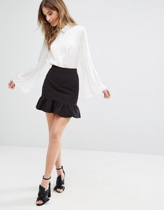 Read more about Miss selfridge ruffle hem mini skirt - black