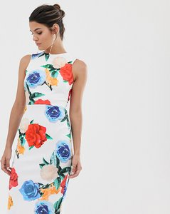 Read more about True violet midi bodycon dress in print - multi floral