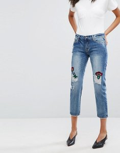 Read more about Evidnt floral patch slim leg jeans - blue