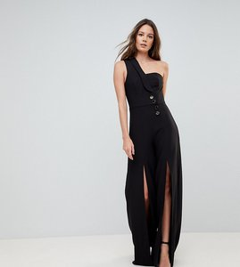 Read more about Asos tall tux jumpsuit with one shoulder and split leg detail - black