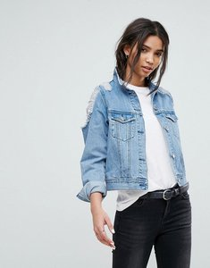 Read more about Dr denim denim jacket with ripped shoulder detail - worn light retro