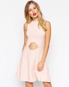 Read more about Asos skater dress in structured knit with cut outs - pink