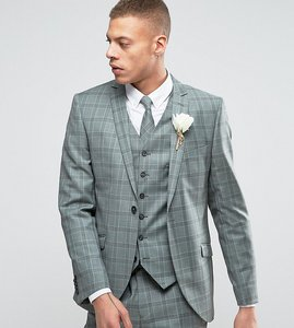 Read more about Heart dagger slim suit jacket in summer wedding check - mint