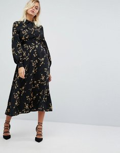 Read more about Fashion union high neck midi dress in grunge floral print - grunge floral