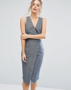 Read more about Closet london striped wrap front pencil dress - denim