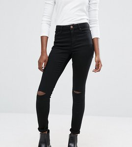 Read more about Asos ridley skinny jeans in clean black with displaced ripped knees - black