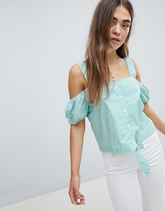 Read more about Only stripe cold shoulder cropped blouse - multi