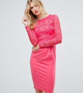 Read more about City goddess tall long sleeve pencil midi dress in lace - raspberry 34