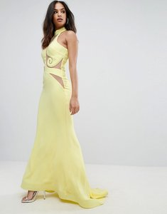 Read more about Forever unique halter neck maxi dress with mesh detail - yellow