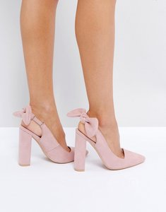 Read more about Public desire dover bow pointed heeled shoes - pink