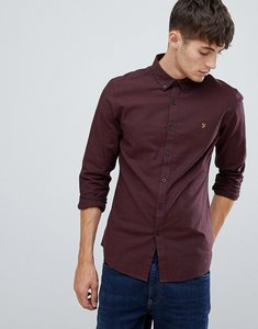Read more about Farah steen slim fit textured shirt in burgundy - red