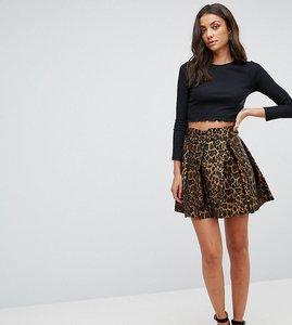 Read more about Asos tall animal jacquard mini flippy skirt - multi