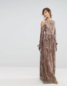 Read more about True decadence cold shoulder premium embroidered maxi dress - grey