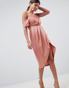 Read more about Asos design one shoulder midi dress in hammered satin - dusky pink
