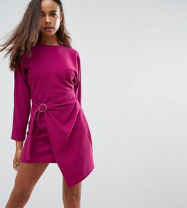 Read more about Asos petite batwing mini dress with wrap skirt - purple