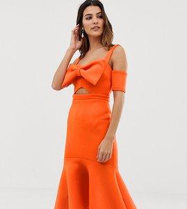 Read more about True violet bow detail midi dress with pep hem - orange