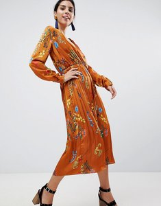 Read more about Liquorish printed satin midi dress with pleated skirt - tan
